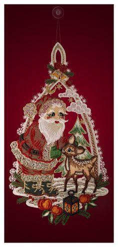 Fensterbild - Motiv: Weihnachtsmann mit Reh