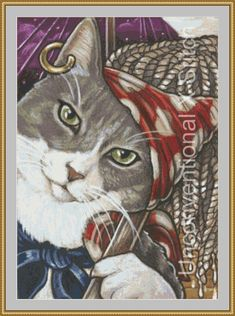 Pirate cat cross stitch pattern - modern counted cross stitch - Pirate cat #10 - Licensed Natalie Ewert by UnconventionalX on Etsy