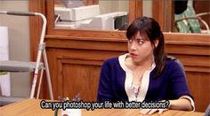 Can you photo shop your life with better decisions? Aubrey Plaza as April Ludgate in Parks and Recreation TV show Parks And Rec Quotes, Parks And Recs, Tv Show Quotes, Movie Quotes, April Ludgate Quotes, Senior Quotes, Aubrey Plaza, Great Memes, Frases
