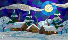 Stained glass illustration with a winter village landscape Royalty Free Stock Photo