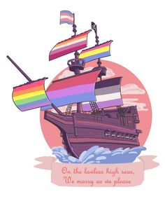 I made a lil Pride pirate ship for Pride Month! : lgbt I made a lil Pride pirate ship for Pride Month! Lgbt Quotes, Lgbt Memes, Pansexual Pride, Gay Aesthetic, Lgbt Community, Gay Art, Oeuvre D'art, Lgbtq Flags, Pride Parade