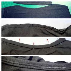 Tecnica per bordare scolli e scalvi nei tessuti in maglia.    http://www.produzionimproprie.com/scollo-a-cascata-tutorial/
