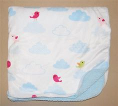 Circo White Velour Blue Cloud Sherpa Baby Blanket Red Green Birds Soft Fluffy #Circo