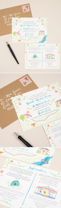 Whimsical watercolour invitations for wedding at Preston Court, England  /  Colourful painted style, including illustrations of the manor house, church, peacock and carousel.  Hand lettering highlights.