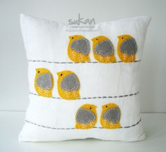 so cute! sweet yellow and grey birdie felt pillow turquoise and brown? green and brown?