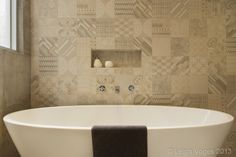 Free standing bath with feature tile wall - tile available in our showroom, Gordon Avenue Geelong West Victoria. Bathroom Interior Design, Interior Decorating, Feature Tiles, Tile Projects, Wall Tiles, Your Design, Kitchen Design, Bathtub, Bathrooms