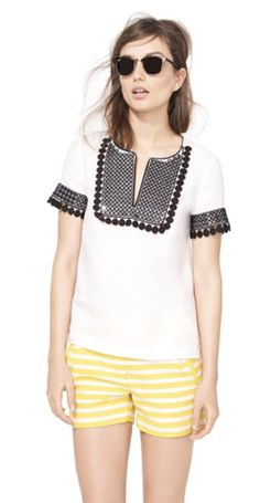 Perfect summer outfit - sequin trimmed pompom @J.Crew tunic top with fun striped shorts! #fashion #style