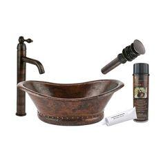 Bath Tub Vessel Hammered Copper Sink for the half bath