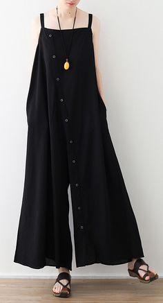 Modern black loose Plus Size Photography jumpsuit pants Summer Cotton Pants, Linen Pants, Plus Size Pants, Plus Size Dresses, Linen Dresses, Cotton Dresses, Pant Jumpsuit, Trousers, Apron Dress