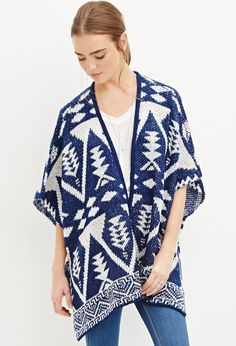 FOREVER 21 Southwestern-Patterned Open-Front Poncho in white and blue perfect as fall is coming