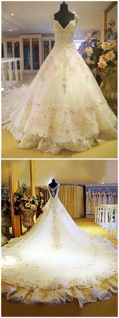 Prinzessin V-Ausschnitt Kathedrale Schleppe Brautkleid mit Strasssteinen und Pailletten