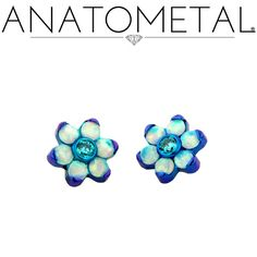 Threaded Flower Ends in ASTM F-136 titanium, anodized teal; synthetic Faceted Opal, Mint Green CZ gems