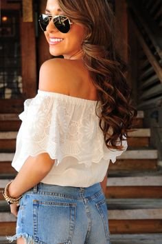 Lace In The Night Top: White - Use the promo code HOLLIREP to get 10% off of every order plus get FREE SHIPPING always!!!