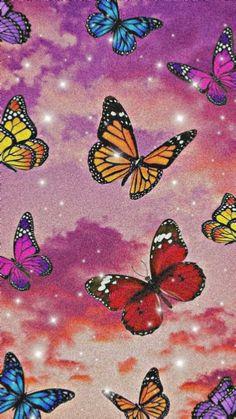Motylki, aesthetic tapeta Retro Wallpaper Iphone, Butterfly Wallpaper Iphone, Hippie Wallpaper, Trippy Wallpaper, Iphone Background Wallpaper, Wallpaper Quotes, Iphone Wallpaper Glitter, Cool Backgrounds, Cute Patterns Wallpaper