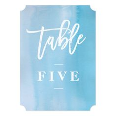 Watercolor Wedding Reception Blue watercolor wedding table number card