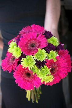Fun and colorful wedding bouquet. Perfect for the bride or bridesmaids. Designed using Hot pink gerbera daisies, bright green pom poms, and deep purple carnations. By Backyard Garden Florist.