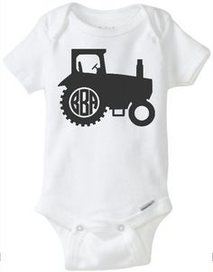 Tractor Monogram Personalized Onesie Baby by JustSouthernDzignz