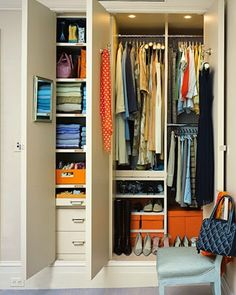 Shelving is easy to cut to size, and therefore this closet makes the most of even the tiniest nooks. via Pinterest via Ambiance Interiors via Martha Stewart Living Utilizing wall space is key to making sure there is space for everything. via Interior Groupie via Focal Point Styling via Our Fifth House Our closet will …