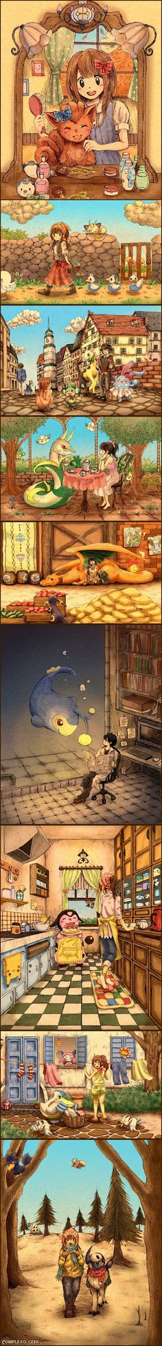 I can imagine myself being the girl in the last picture. I would probably have my luxray on the other side of me