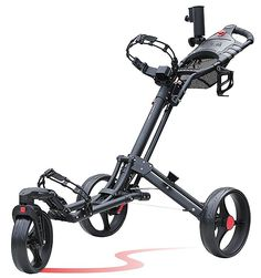 The unique swivel design on this awesome looking one-click folding 3 wheel golf push cart by CaddyTek makes maneuvering around the golf course an absolute breeze!