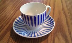 """Newest member of my collection. It's a hand painted Upsala-Ekeby, design """"Rod Aster"""" in blue. Upsala-Ekeby was one of the three largest porcelain manufacturers in Sweden. It was founded by the Von Bahr family in The company went out of business in Going Out Of Business, Aster, My Collection, Sweden, Porcelain, Hand Painted, Tableware, Blue, Design"""