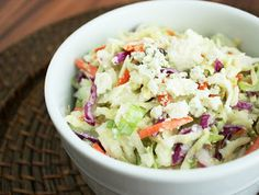 Blue Cheese Coleslaw  1 (16 oz) pkg pre-cut coleslaw mix 1/3 cup mayonnaise 3 Tbsp milk 1 Tbsp apple cider vinegar 1/2 Tbsp lemon juice 2 Tbsp granulated sugar 1/4 tsp onion powder 1/4 tsp garlic powder 1/4 tsp salt 1/8 tsp pepper 3/4 cup crumbled blue cheese   Pour coleslaw mix into a large mixing bowl, set aside. In a small mixing bowl whisk together mayonnaise, milk, apple cider vinegar, lemon juice, sugar, onion powder, garlic powder, salt and pepper. Pour mixture over coleslaw mix…
