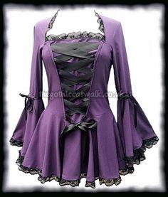 Pretty, Pretty, Pretty!!! Long Flared Purple Gothic Bodice Top