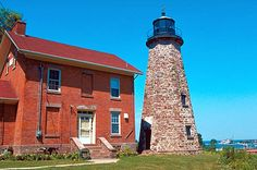 Charlotte-Genesee Lighthouse (Rochester, New York).  The octagonal limestone tower was constructed in 1822 with the brick residence added in 1863.