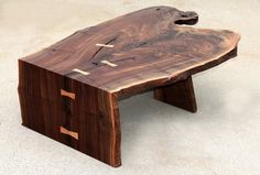Custom Made Custom Walnut coffee/cocktail table by Aaron Smith Woodworking Wood Slab Table, Wooden Tables, Live Edge Furniture, Log Furniture, Custom Furniture, Furniture Design, Madeira Natural, Woodworking Inspiration, Woodworking Ideas