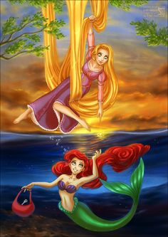 Disney Rapunzel and Ariel  by daekazu on Deviantart.com. Fantasy. Fairytale.    Another two of my favs :)