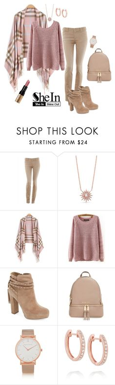 """""""SheIn Pink Plaid Tassle Scarf"""" by lacehearts58 on Polyvore featuring Armani Jeans, Jessica Simpson, MICHAEL Michael Kors, Larsson & Jennings, Anita Ko and Bobbi Brown Cosmetics"""