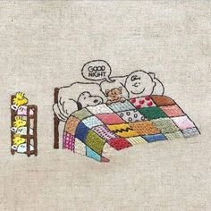 Good Night Charlie Brown, Snoopy, and Woodstock embroidery Embroidery Art, Cross Stitch Embroidery, Embroidery Patterns, Cross Stitch Patterns, Machine Embroidery, Snoopy Love, Charlie Brown And Snoopy, Snoopy And Woodstock, Snoopy Quotes