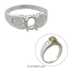 Ring, sterling silver, filigree band with 7x5mm oval cabochon setting, 4 prong, size 7. Sold individually.