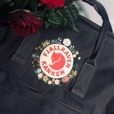 Embroidery On Clothes, Hand Work Embroidery, Cute Embroidery, Cross Stitch Embroidery, Diy Embroidery Designs, Embroidery Patterns, Fjallraven Kanken Black, Fashion Logo Design, Embroidery Techniques
