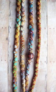 VEGAN Custom Tie-Dye  Dread Wrap Multi Color with X-Cross Wrap & Bead Bohemian Hippie Dreadlocks Tribal Synthetic Extensions.