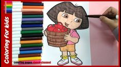 dora the explorer coloring book in the farmer with apple box from coloring pages shosh channel