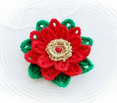 CROCHET BROOCH APPLIQUE GLITTER FLOWER  LARGE*CHRISTMAS FLOWER POINSETTIA in Crafts, Crocheting & Knitting, Other Crocheting & Knitting   eBay