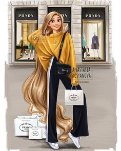 Russian Fashion Illustrator Shows How Disney Princesses Would Look If They Went Shopping Today Disney Princess Fashion, Disney Princess Pictures, Disney Princess Drawings, Disney Princess Art, Disney Drawings, Disney Art, Funny Drawings, Disney Fashion, Fashion Art
