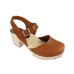 Highwood Mary Jane Style Clogs in Waxed Tan Leather Main