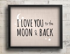 I Love You to the Moon & Back Nursery Decor - Celestial Stars Blue Nursery Art - Baby Boy Nursery Wall Art - Guess How Much I Love You Quote...