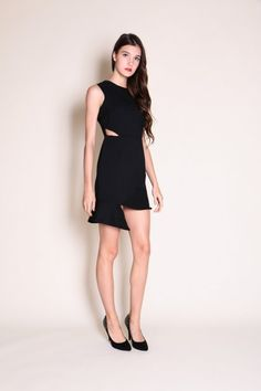 Irregular Cut-out Flare Hem Dress (Black)  $38