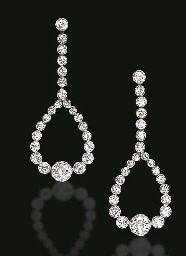 BELLE EPOQUE EAR PENDANTS. Diamonds in platinum, circa 1910.