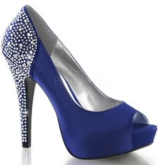 Pin Up Couture Lolita 08 Blue Peep Toe Pumps with Rhinestoned Back