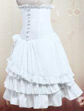 Cotton White Ruffle Layered Lolita Skirt