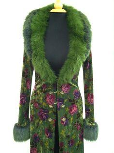 Betsey Johnson green velvet and faux fur coat