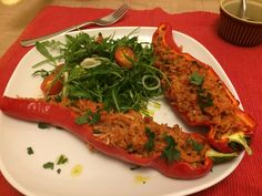 This lightly-spiced, pork mince and wild rice stuffed, roasted romano peppers recipe is definitely one of the best ways to enjoy stuffed peppers!