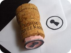 from wine cork. To stamp on inside book cover to id my books. I think I *might* have a wine cork.stamp from wine cork. To stamp on inside book cover to id my books. I think I *might* have a wine cork. Diy Stamps, Homemade Stamps, Wine Cork Projects, Wine Cork Crafts, Dremel Projects, Filofax, Eraser Stamp, Stamp Carving, Crafty Craft