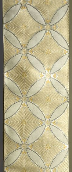 Japanese Fukuro Obi, 1940s.  Silk, with silver and pale yellow silk brocading