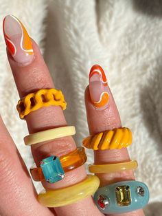 Funky Nails, Cute Nails, Pretty Nails, Nail Jewelry, Cute Jewelry, Jewlery, Vintage Jewelry, Jewelry Accessories, Nail Ring