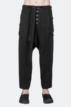 Cropped loose linen trousers